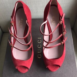 Gucci Shoes - Brand NEW!  Gucci red suede triple strap heel